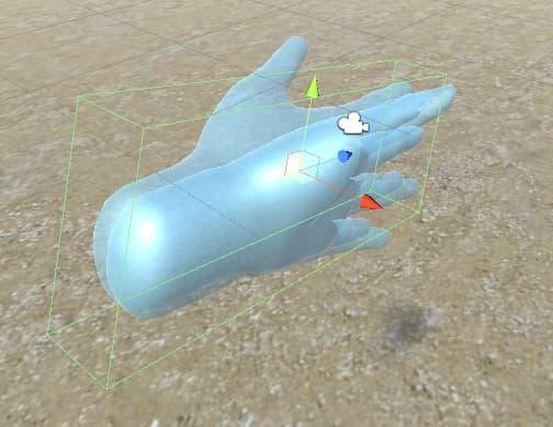 手のモデルの付けた透明なコライダー