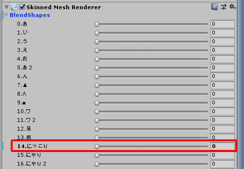 BlendShapesのパラメータ