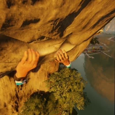 崖を手だけで上る
