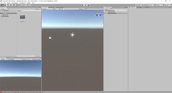 Unityのエディター画面が起動します