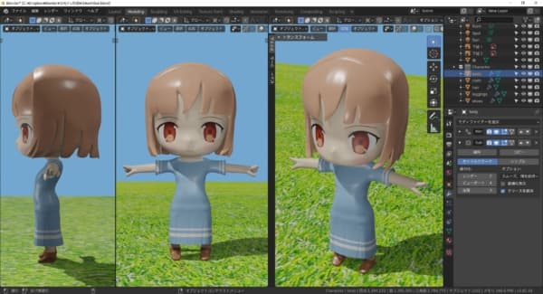 Blenderで作った女の子の3Dモデル