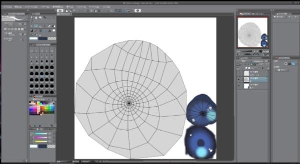 「UV展開でエクスポートした画像」をクリスタで読み込み、下書きレイヤーに設定して、目を描いていきます