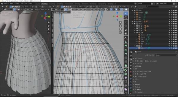 更にループカットで面を増やし、スカートの曲面を出していきます