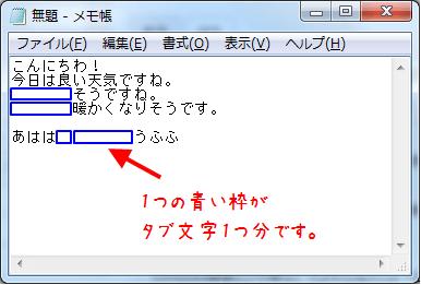 青い枠で囲んだ部分にタブ文字が入力されている