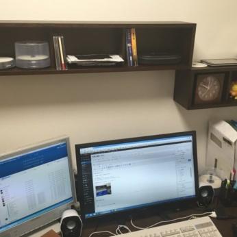 【DIY】2.5帖の書斎に棚を付けました!無印良品の「壁に付けられる家具・箱」が簡単・便利です